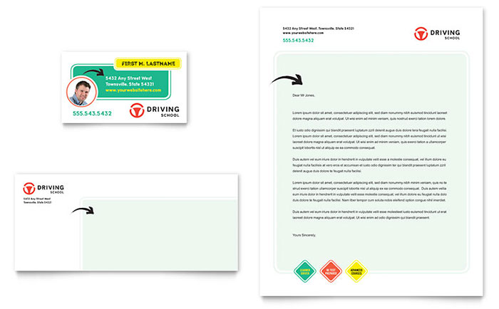 Driving School Business Card & Letterhead Template - Word & Publisher