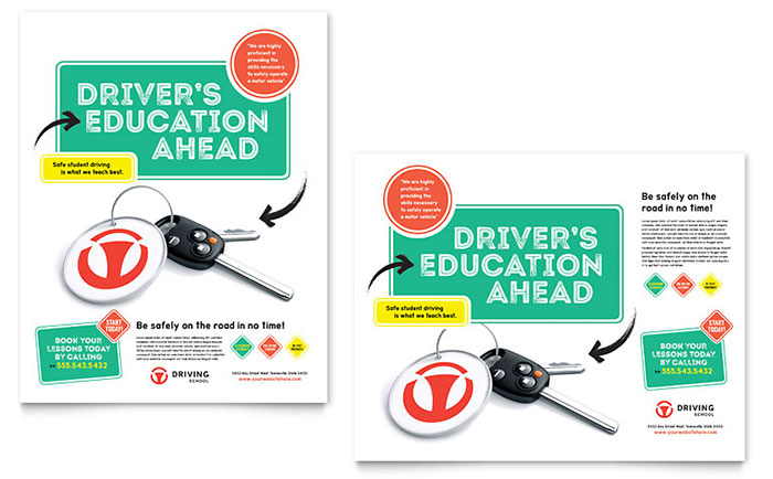 Driving School Poster Template - Word & Publisher