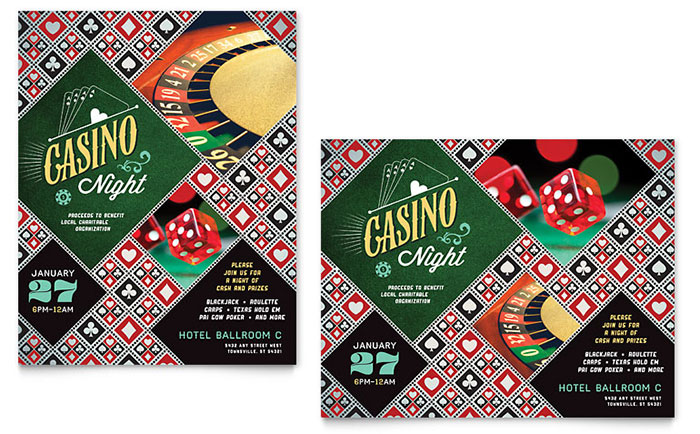 Casino Night Poster Template - Word & Publisher