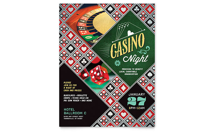 Casino Night Flyer Template - Word & Publisher