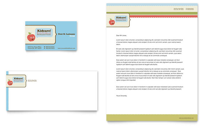 Child Development School Business Card & Letterhead Template - Word & Publisher