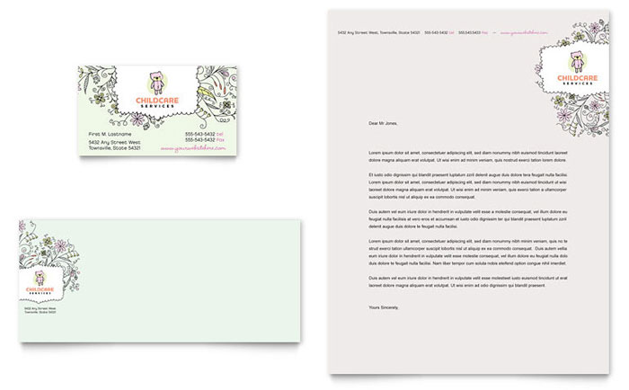 Babysitting & Daycare Business Card & Letterhead Template - Word & Publisher