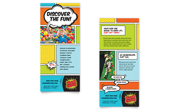Kids club rack card template word publisher for Rack card template for word