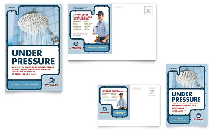 Plumbing Services Postcard Template - Word & Publisher