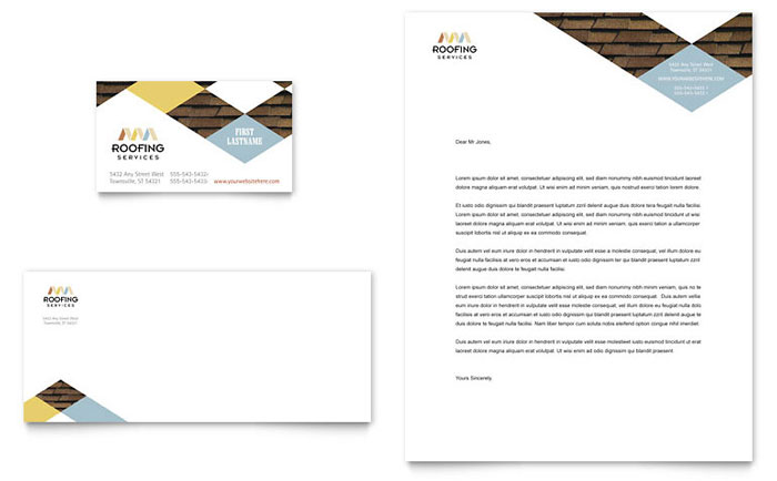 Roofing Contractor Business Card & Letterhead Template - Word & Publisher