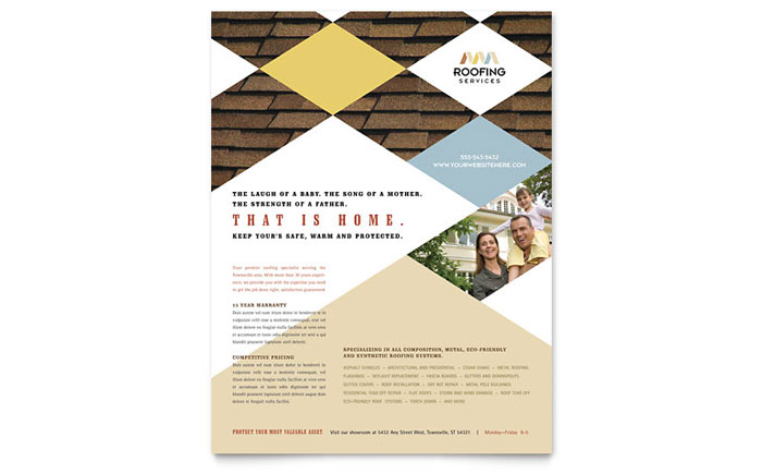 Roofing contractor flyer template word publisher for Construction brochure design pdf