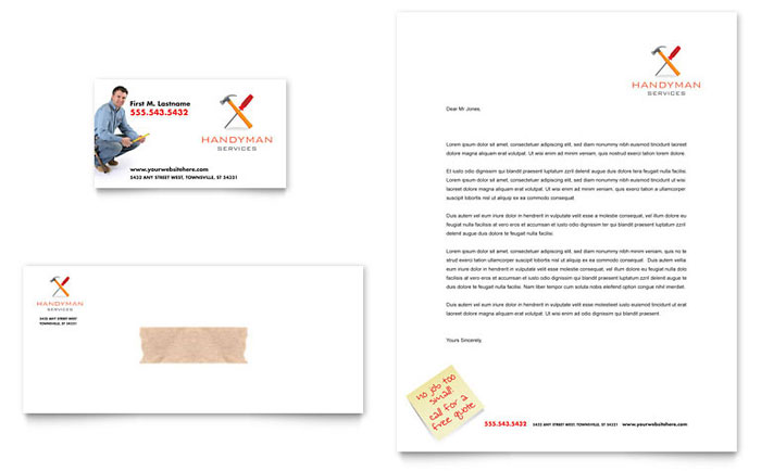 Handyman Services Business Card & Letterhead Template - Word & Publisher