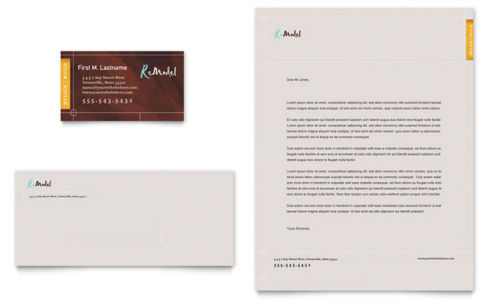 Home Remodeling Business Card & Letterhead Template - Word & Publisher