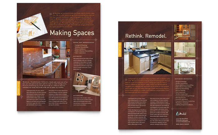 Home Remodeling Datasheet Template - Word & Publisher
