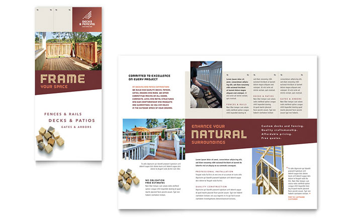 Decks fencing brochure template word publisher for Publisher brochure templates