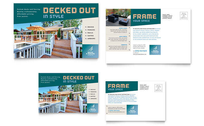 Decks & Fencing Postcard Template - Word & Publisher