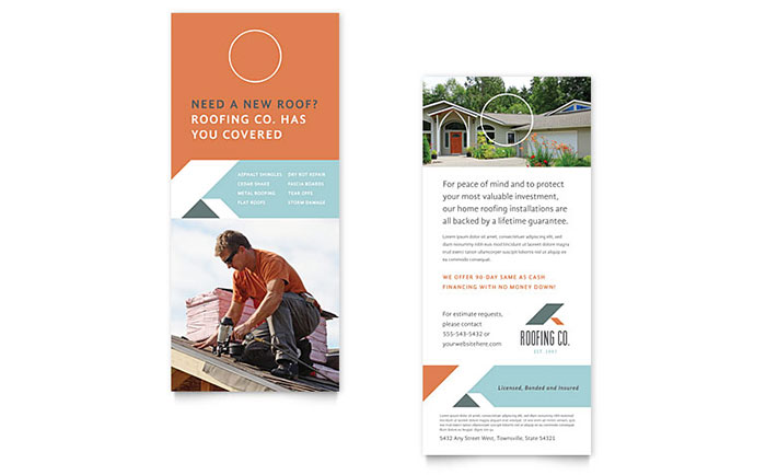roofing company rack card template word publisher. Black Bedroom Furniture Sets. Home Design Ideas