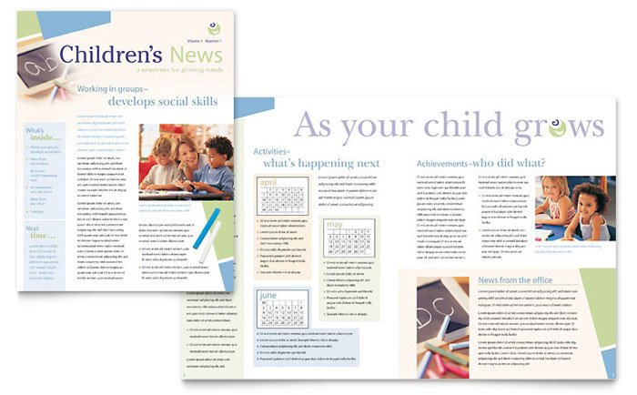 Child Care & Preschool Newsletter Template - Word & Publisher