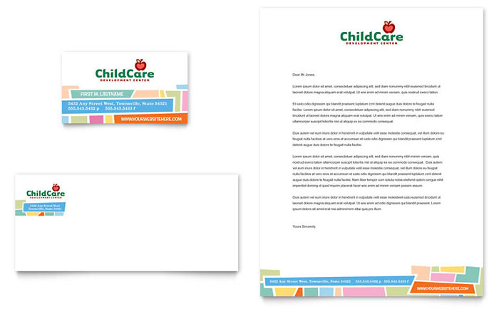Preschool Kids & Day Care Business Card & Letterhead - Word Template & Publisher Template