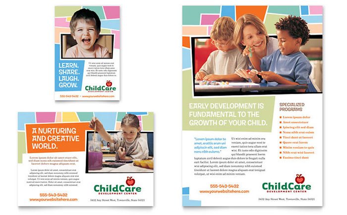 Preschool Kids & Day Care Flyer & Ad - Word Template & Publisher Template