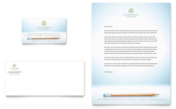 Academic Tutor & School Business Card & Letterhead Template - Word & Publisher