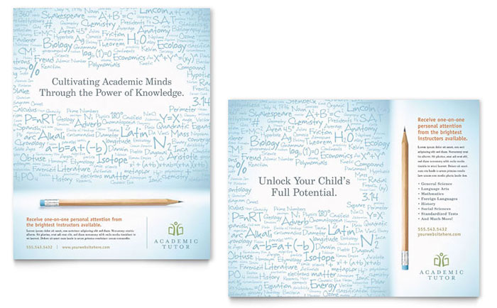 Academic Tutor & School Poster Template - Word & Publisher
