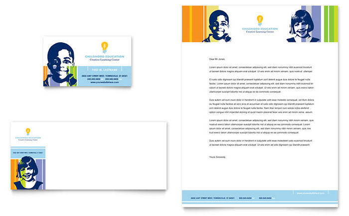 Learning Center & Elementary School Business Card & Letterhead Template - Word & Publisher