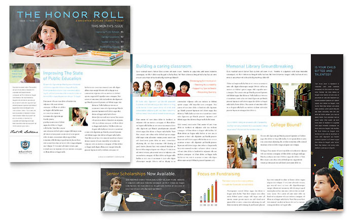 Education Foundation & School Newsletter Template - Word & Publisher
