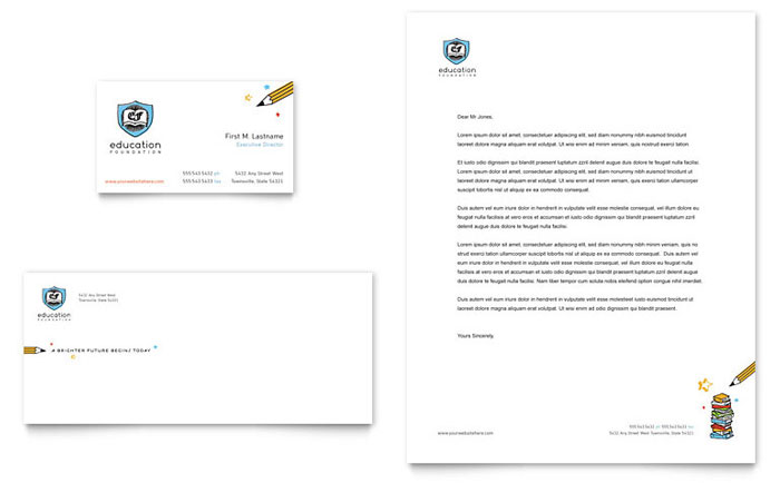 Education Foundation & School Business Card & Letterhead Template - Word & Publisher