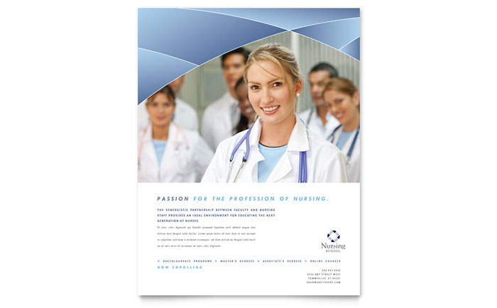 Nursing school hospital flyer template word publisher for Nurses week flyer templates