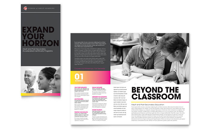 Adult education business school tri fold brochure for Brochure design for training institute