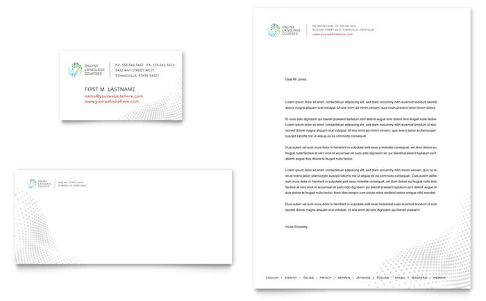 Language Learning Business Card & Letterhead Template - Word & Publisher