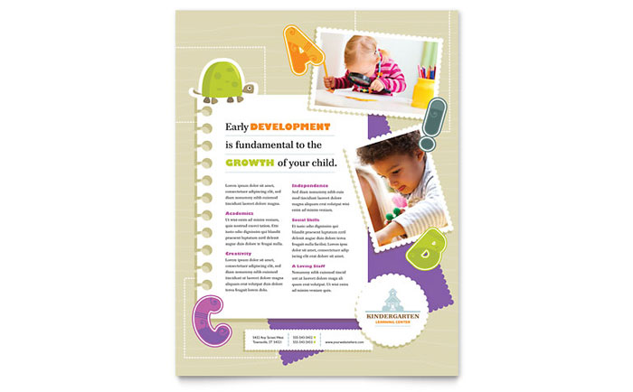 Kindergarten Flyer Template - Word & Publisher