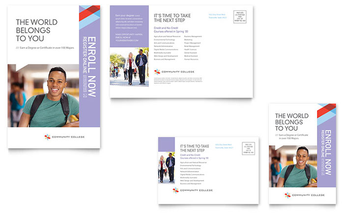 Community College Postcard Template - Word & Publisher