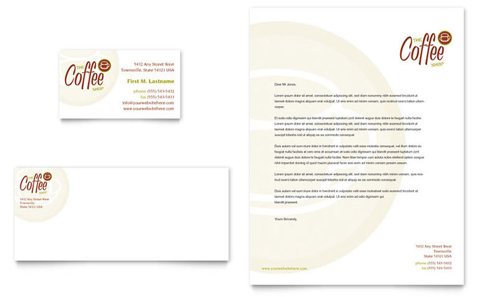 Coffee Shop Business Card & Letterhead Template - Word & Publisher