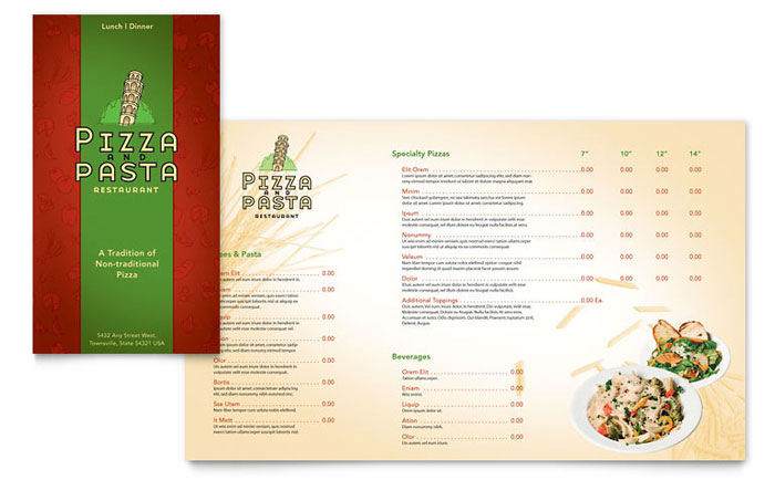 Italian Pasta Restaurant Take-out Brochure Template - Word & Publisher