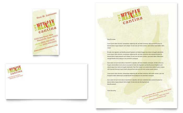 Mexican Restaurant Business Card & Letterhead Template - Word & Publisher