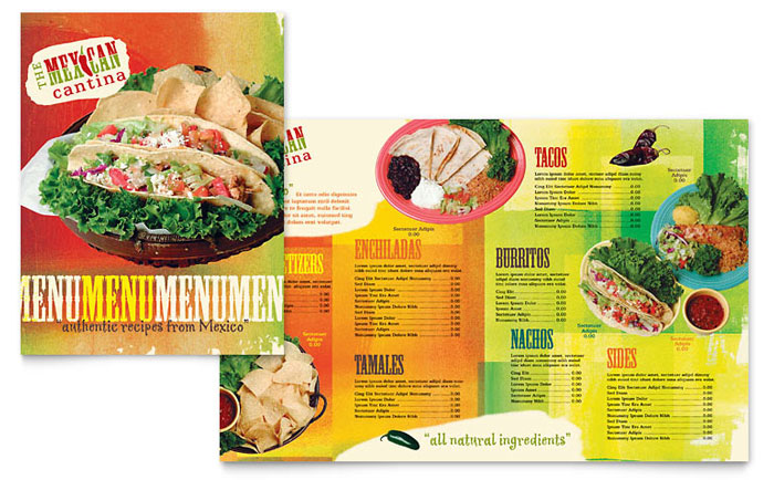 Mexican Restaurant Menu Template Word Publisher – Free Food Menu Template