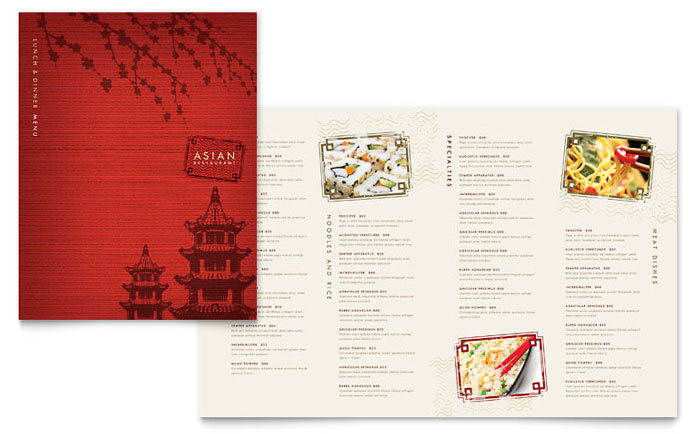 Asian Restaurant Menu Template Word Amp Publisher