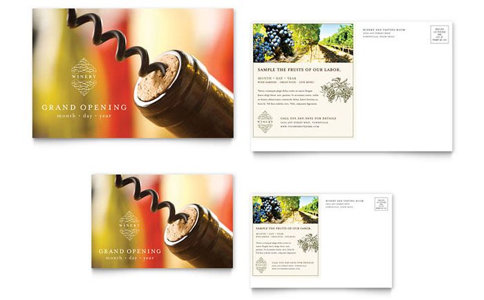 Vineyard & Winery Postcard Template - Word & Publisher
