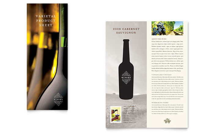 Vineyard & Winery Datasheet Template - Word & Publisher