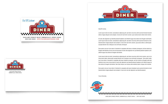American Diner Restaurant Business Card & Letterhead Template - Word & Publisher