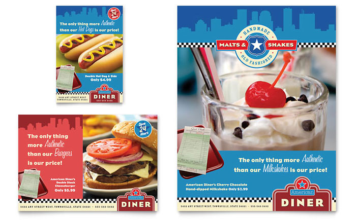 American Diner Restaurant Flyer & Ad Template - Word & Publisher