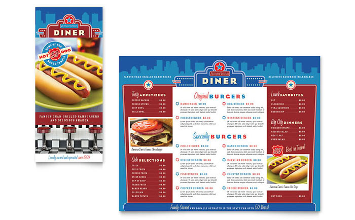 American Diner Restaurant Take-out Brochure Template - Word & Publisher