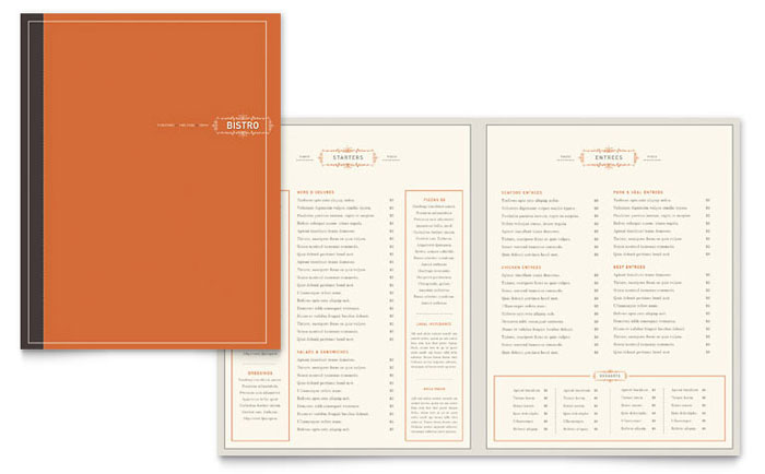 Bistro bar menu template word publisher for Microsoft publisher menu templates free
