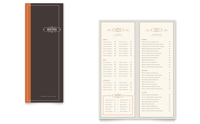 Bistro Bar Menu Templates Word Publisher – Ms Word Menu Template