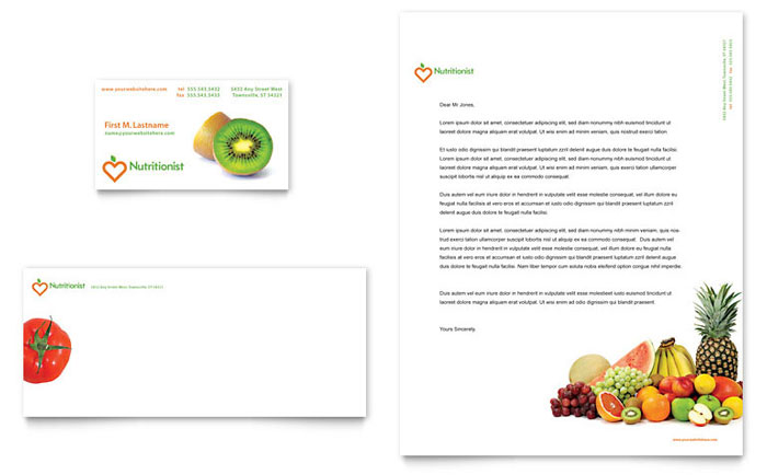 Nutritionist & Dietitian Business Card & Letterhead Template - Word & Publisher