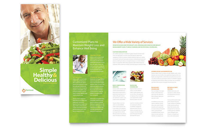 Nutritionist dietitian tri fold brochure template word for Tri fold brochure word template