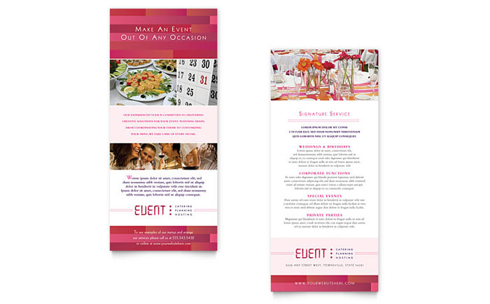 corporate event planner caterer rack card template word publisher. Black Bedroom Furniture Sets. Home Design Ideas