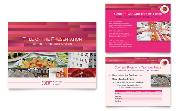 Corporate Event Planner & Caterer PowerPoint Presentation Template - PowerPoint