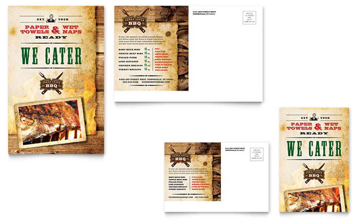 Steakhouse BBQ Restaurant Postcard Template - Word & Publisher