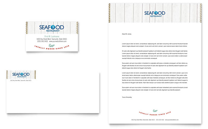 seafood restaurant business card  u0026 letterhead template