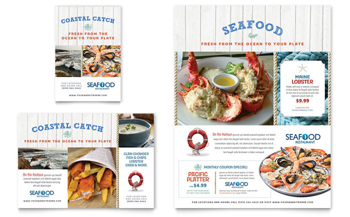 Seafood Restaurant Flyer and Ad Template Word and Publisher – Restaurant Flyers Templates