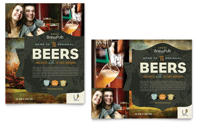 Brewery & Brew Pub Poster Template - Word & Publisher
