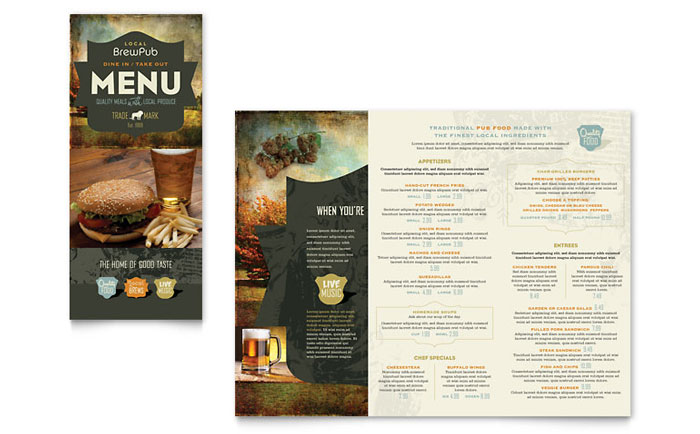 Brewery brew pub take out brochure template word publisher for Take out menu template